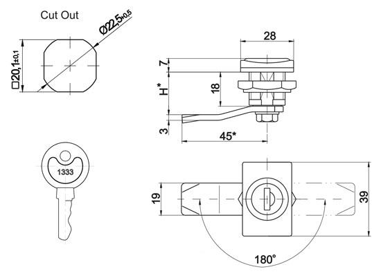 m22pw lock  retancular housing  m22p  w  key code 1333  cb